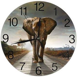 Afrikansk elefant rund väggklocka tyst tickar ej batteridriven lätt att läsa för studenter kontor skola hem dekorativ kloc...