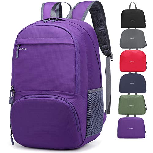 Rucksack, Foldable Ultralight Packable Backpack, MRPLUM 25L Unisex Durable Handy Daypack for Travel, Outdoor Sports, Durable and Waterproof (Viola)