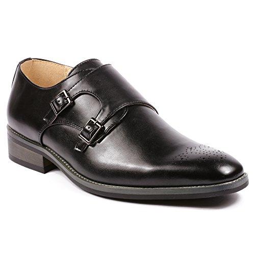 Metrocharm MC101 Men's Perforated Double Monk Strap Slip On Dress Shoes (10.5, Black)