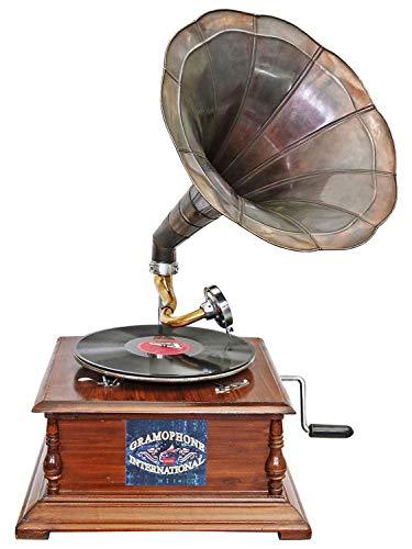 aubaho Grammophon Gramophone Dekoration Trichter Grammofon Messing Antik-Stil X03