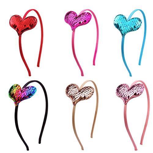 Amosfun 6 Stück Kinder Pailletten Herz Haarband Party Glitzer Stirnband glänzend Kopfschmuck dekorative Haarreifen für Geburtstag Weihnachten Mottoparty