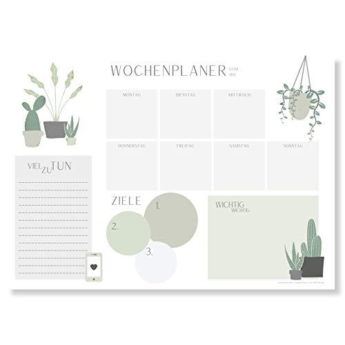 Wochenplaner Block A3 (25 Blatt) - Schreibtischunterlage mit To Do Liste - Wochen Planer aus Papier als Schreibtisch Unterlage - Weekly Planner Undatiert - Schreibunterlage mit Wochenplan - Plantlady