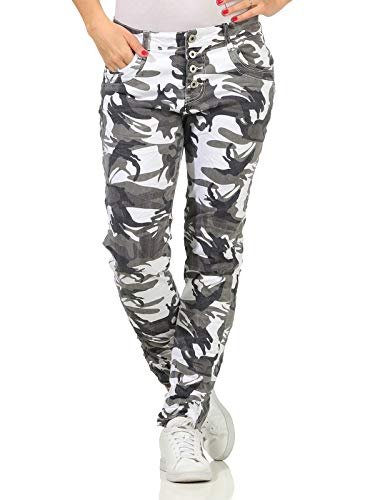 Karostar Damen Hose Jeans Camouflage Boyfriend Baggy Knopfleiste Jeanshose Tarn 22 (46/32, Grün)