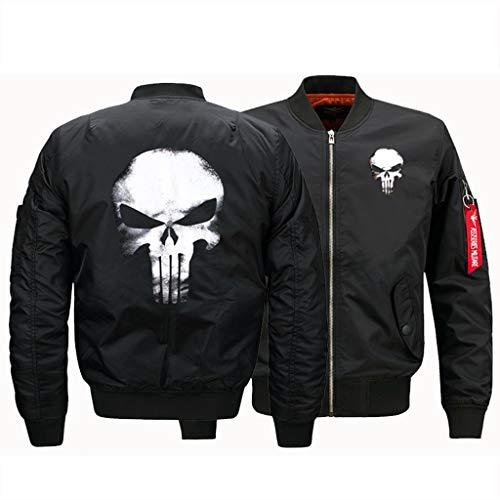 LIXIYU Bomberjacke Unisex Stehkragen Jacken Mantel lässige Fliegerjacke Klassische Skull Couple Jacke,Black-XXL