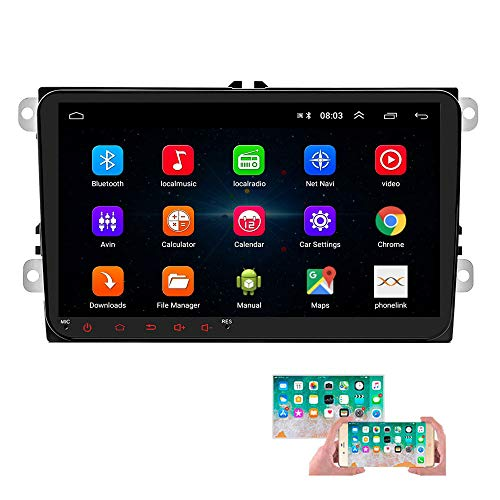 Android Car Radio para VW GPS Navigation CAMECHO Pantalla táctil capacitiva de 9 Pulgadas Bluetooth Car Stereo Player WiFi FM Radio Receptor Dual USB para Golf Polo Touran Tiguan Seat Altea