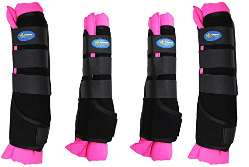 Professional Equine Horse 4-Pack Leg Care Stable Shipping Neoprene Boot Wraps Pink 4120PK