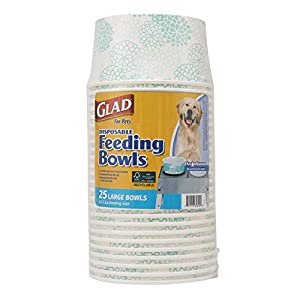 Glad for Pets Disposable Feeding Bowls | Large Dog Bowls in Teal Pattern | 3.5 Cup Feeding Size, 25 Count – Dog Bowls are Great for Dry and Wet Dog Food or Water
