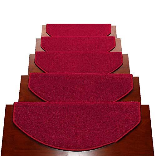 HYL Tappeti per Scale Tappetini Autoadesivi per Scale Semicerchio 24x65cm Tappetini Antiscivolo per Moquette Tappetini per Pavimenti A più Colori (Color : Red, Size : 5 Pieces Set)