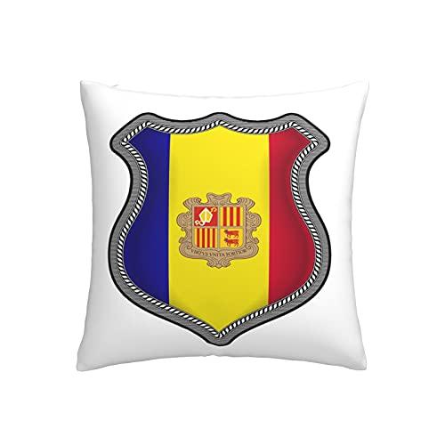 Kissenbezug mit Andorra-Flagge & Symbol, quadratisch, dekorativer Kissenbezug für Sofa, Couch, Zuhause, Schlafzimmer, Innen- & Außenbereich, 45,7 x 45,7 cm