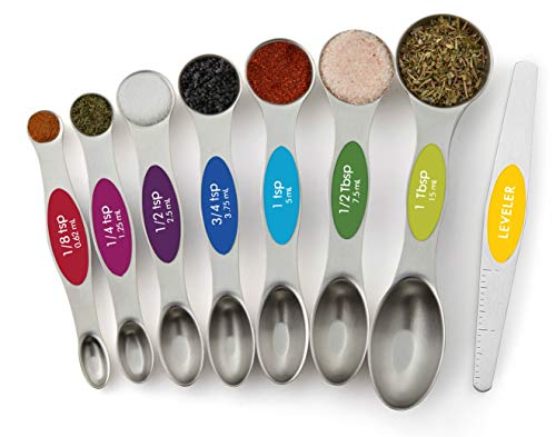 Spring Chef Magnetic Measuring Spoons Set, Dual Sided, Stainless Steel, Fits in Spice Jars, Multi-Color, Set of 8
