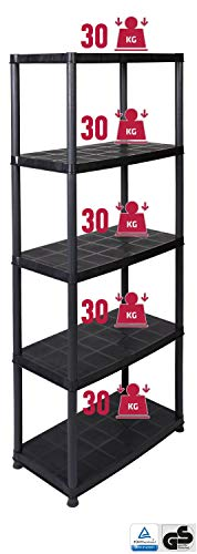 Praktisches Regal für Haushalt, Büro, Keller, Werkstatt oder Garage - 5 Böden mit je 30 kg - in Schwarz!