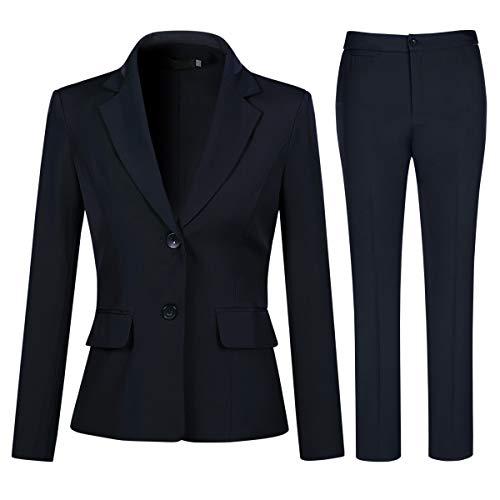 YYNUDA Anzug Set Damen Business Hosenanzug Slim Fit Blazer mit Anzughosen Elegant für Office Hochzeit Blau L