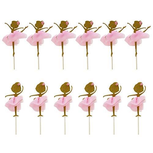 Toyvian Topper per Cupcake Ornamenti per la Torta della Ragazza di Ballo di Balletto Decorazione per Torte Festa a Tema e Torta di Compleanno 12 Pezzi