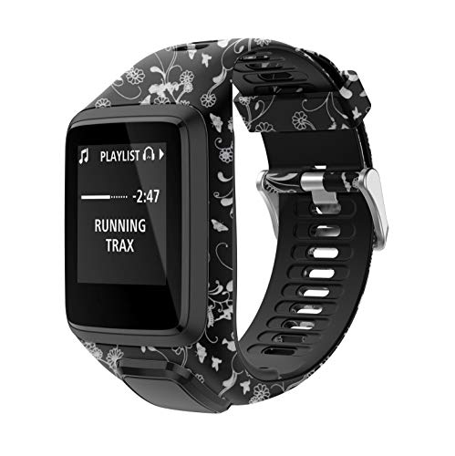 PATROHOO Bands for Tomtom Runner 2/3 Strap,Compatible with Spark 3/Golfer2/Adventurer,Rubber Replacement Band for Screen Protector-GPS Smart Watch Accessories.(Elven)