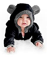 Cuddle Club Fleece Baby Bunting Bodysuit for Newborn to 4T – Infant Winter Jacket Coat Toddler Costume - BearBlack2T