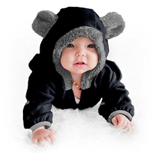 Cuddle Club Mono Polar Bebé para Recién Nacidos a Niños 4 Años - Pijamas Infantiles Chaqueta de Invierno Abrigo Polar Niño Mono de Niños BearBlack3-6mV2