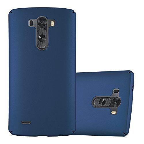 Cadorabo Hülle für LG G3 - Hülle in Metall BLAU – Hardcase Handyhülle im Matt Metal Design - Schutzhülle Bumper Back Case Cover
