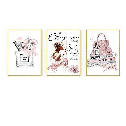 Non-branded HNZK Vogue Libro Poster Moda Pared Arte Pinceles Maquillaje Lienzo Arte Pinturas Belleza Mujer Impresiones Perfume Cuadros ParíS Moda Pared Decoracion 40x60cmx3 / Sin Marco