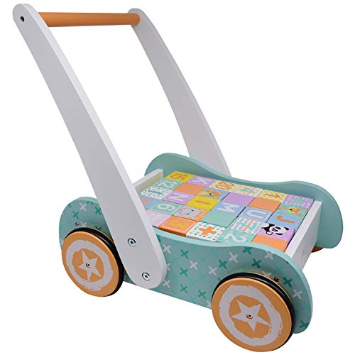 Wooden Baby Walker with Blocks - Wooden Push Along Trolley - 123 and ABC Blocks - Suitable for Toddlers and Babies from 12 Months
