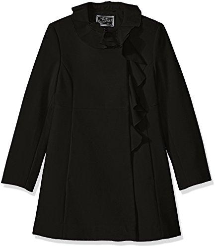 Rothschild Girls' Big Faux Wool Coat with Ruffle Trim, Black, 10