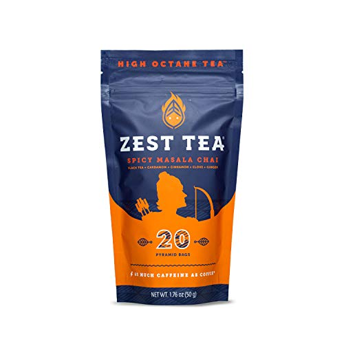Zest Tea Energy Hot Tea, High Caffeine Blend Natural & Healthy Coffee Substitute, Perfect for Keto, 20 servings (150mg Caffeine each), Compostable Teabags (No Plastic), Spicy Masala Chai Black Tea