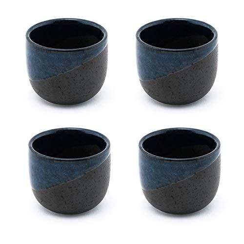 Fuji Merchandise Porcelain Sake Cups 2 fl oz Japanese Restaurant Supply (Blue Sake Cups 4)