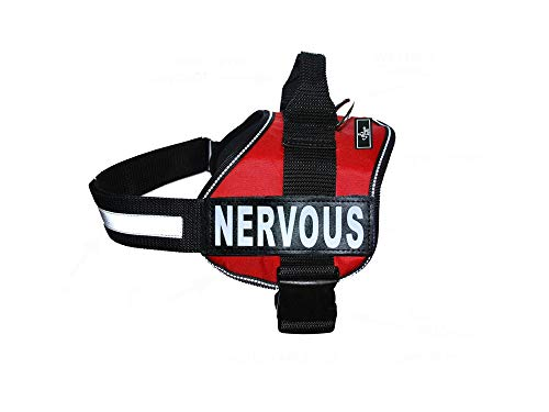 Nervous Nylon Service Dog Vest Harness. Purchase Comes with 2 Reflective Nervous Removable Patches. Please Measure Your Dog Before Ordering