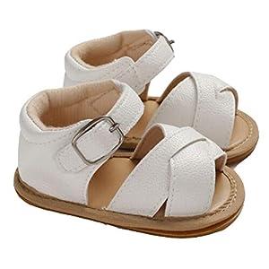 Sandalías de Bebé Recién Nacido Zapatos Casuales Antideslizantes Cuero PU Transpirable de Verano Suela Suave Zapatos para Caminar Primera Infancia de 0 a 18 Meses Cumpleaños (Blanco, 12-18 meses)