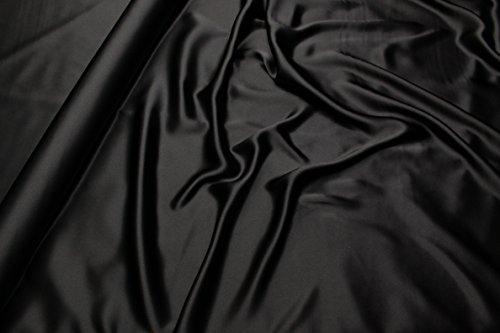 Escalano Seide Satin Schwarz Meterware Maulbeerseide 100% Italienisch 100% Seide Silk