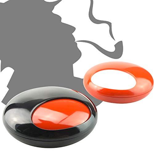 QUANS 灰皿 はいざら ふた付き 回転 煙と臭いを遮断する卓上灰皿 滑り防止設計 大容量 耐高温 防風防雨 屋外 メラミン樹脂 創意 現代 デザイン 小物入れ (A-ブラック)