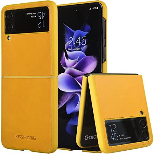 KEZiHOME Samsung Galaxy Z Flip 3 Case, Genuine Leather Samsung Z Flip 3 5G Case, Durable Minimalist Ultra Thin Slim Cover Protective Phone Case Compatible with Samsung Galaxy Z Flip 3 (2021) (Yellow)