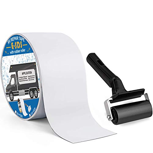 E-SDS RV Roof Sealant Tape 4' x50' with Rubber Roller, UV & Waterproof White RV Seal Tape for RV Roof Repair, Window, Boat Sealing, Truck and Camper Roof Leaks