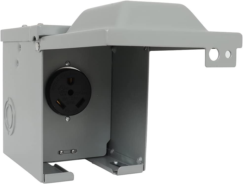 cciyu 30 Amp RV Nippon regular agency Power Box outlet Outlet Lockable Weatherproof Enclosed