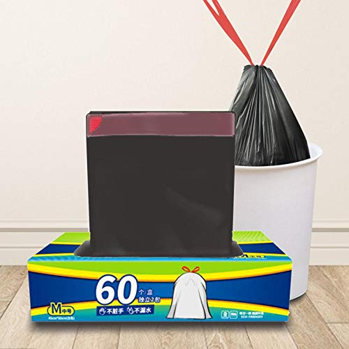Watermelon 60Pcs Drawstring Trash Bags, 17.72x19.68inTall Kitchen Black/White Trash Bag Thickened No Leakage Garbage Bags For Bathroom, Kitchen, Bedroom, Office
