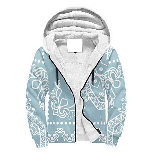 Lind88 Heren Zip Up Super Warm Fleeced Hoodies met gevoerde Heren Vrouwen Poeder Blauw Mandala Ontwerp Solid - met Patch Pocket Losse Sport Blouse voor Valentijn Geschenken