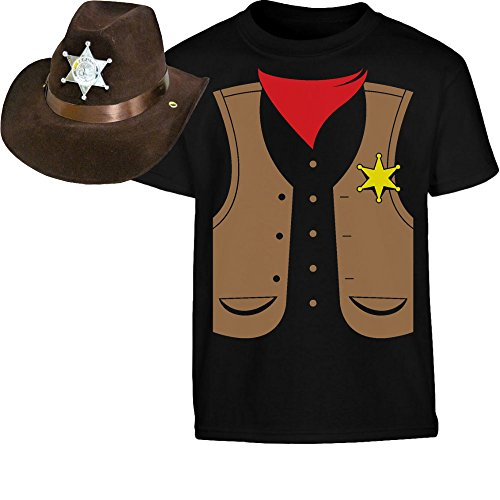 Kids Set Cowboy Sheriff Kostüm Shirt + Hut Kinder T-Shirt 140 Schwarz