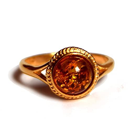 MJ Baltica anello Argento placcato Oro 14k e Ambra Naturale artigianale BZP007 (Cognac, 19)