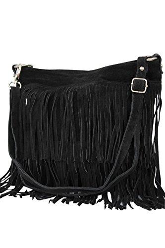 AMBRA Moda Damen Handtasche Ledertasche Umhängetasche Fransentasche Schultertasche Damentasche Wildleder 32 cm x 29 cm x 2 cm WL809 (Schwarz)