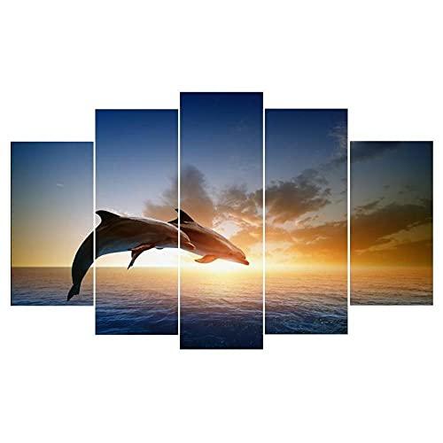 Laimi Leinwanddrucke 5 stück- Synthwave Tauchen mit Zwei Delfinen Malerei 5 Panel Innenwand HD Kunstdekoration Gemälde und Poster Rahmenlos