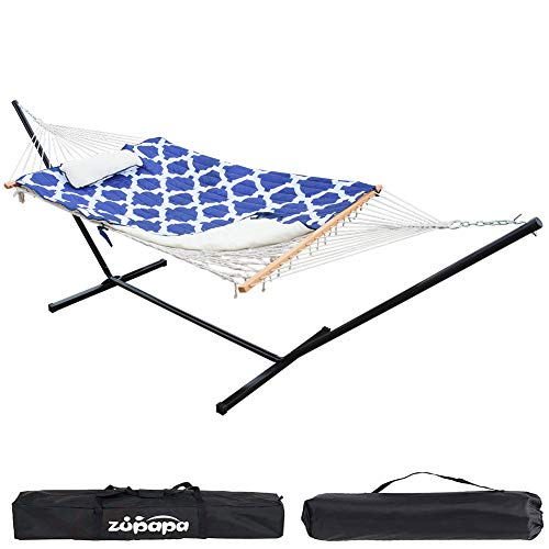Zupapa Cotton Rope Pad Hammock with Stand 400lbs Capacity, Indoor Outdoor Use 12 Feet Hammock Stand Spreader Bar Hammock Pad and Pillow Combo 2 Storage Bags Included (Geometric Royal Blue)