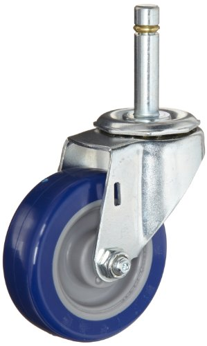 "E.R. Wagner Stem Caster, Swivel, Polyurethane on Polyolefin Wheel, Precision Ball Bearing, 450 lbs Capacity, 3"" Wheel Dia, 1-3/4"" Wheel Width, 3-7/8"" Mount Height, 7/16"" Stem Dia, 1-3/8"" Stem Height"