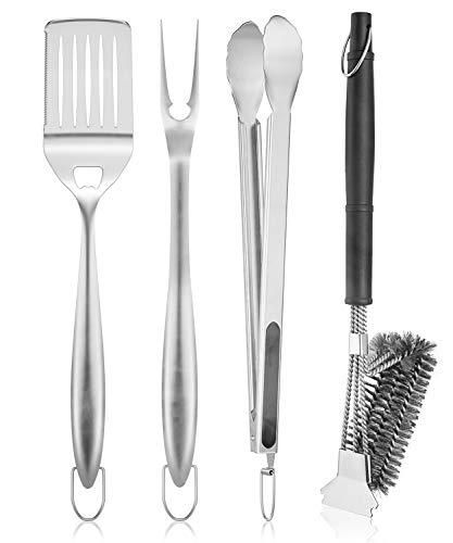 SHINESTAR Grillbesteck Set aus Edelstahl, Spatel, Gabel, Grillzange, Drahtbürste mit 304 Schaber, für Grill, Ersatzteile für Weber 6630 BBQ Werkzeuge, 45.72 cm, 4 Stück