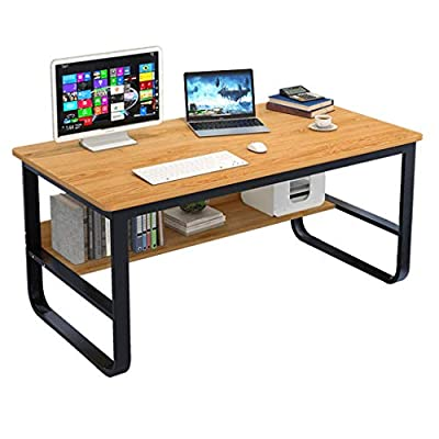 "Modern Computer Desk with Bookshelf, 55"" Simple Style Writing Study Game Rectangular Table, Rustic Economic Desktop Workstation for Home Office"