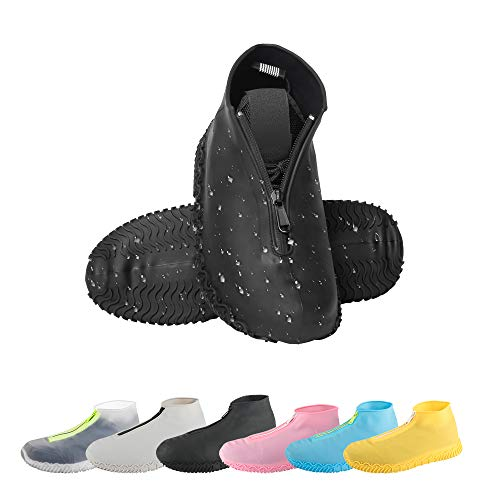 CHUHUAYUAN Waterproof Silicone Shoe Covers, Reusable Foldable Not-Slip Rain Shoe Covers with Zipper,Shoe Protectors Overshoes Rain Galoshes for Kids,Men and Women(1 Pair) (Black, XL)
