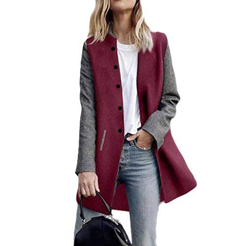 WUAI-Women Long Sleeve Open Front Cardigan Jackets Lightweight Color Block Button Blazer Suit Jackets Coats(Red,Medium)