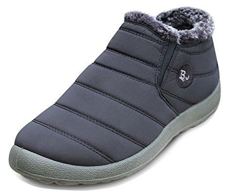 Minetom Herren Damen Winterschuhe Wasserdicht Schneestiefel Warm Gefütterte Winterstiefel Stiefelette Outdoor Slip on Komfort Boots BJ Schwarz 38