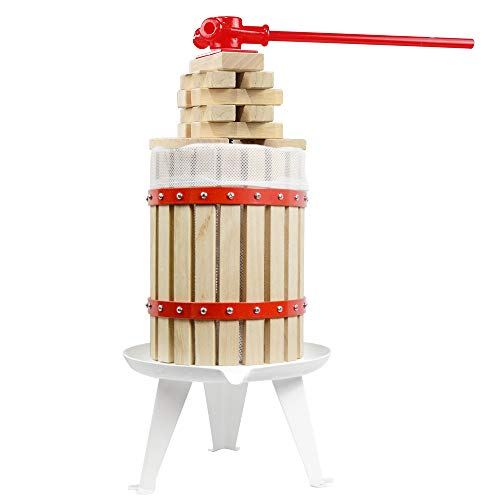 4.75 Gallon Fruit Wine Press - 100% Nature Apple&Grape&Berries Crusher Manual Juice Maker for Kitchen, Solid Wood Basket with 8 Blocks Heavy Duty Cider Wine Making Press