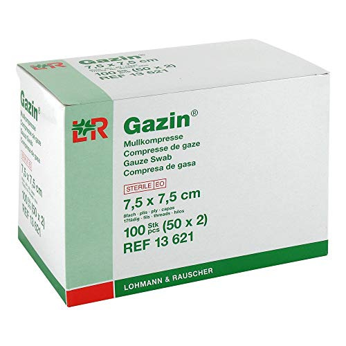 GAZIN Mullkomp.7,5x7,5 cm steril 8fach 50X2 St