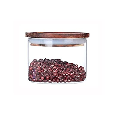 AUYE Glass Storage Jar,Coffee Bean & Kitchen food Container with Natural High grade wood Lid and Silicone Seal Ring (12 Ounce)