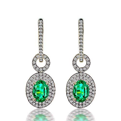 ANAZOZ Pendiente Verde Esmeralda,Pendientes Oro Amarillo 18 Kilates Mujer Plata Verde Oval Esmeralda Verde 1.21ct Diamante 0.57ct